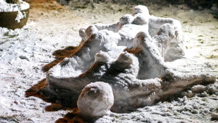 Immer wieder werden in Sachsen derartige Schnee-Skulpturen gebaut